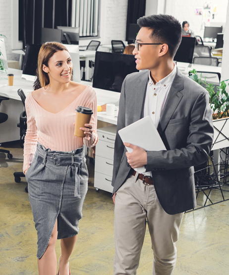young woman and man in modern office